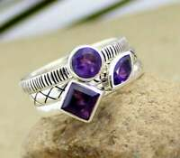 SOLID 925 STERLING SILVER AMETHYST GEMSTONE STACKABLE STACKING BAND RING JEWELRY