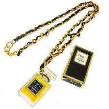 Authentic CHANEL Vintage CC Logos Gold Chain Perfume Pendant Necklace AK16755h