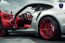 20x9 20x12 +42 Rohana RF2 Flowform 5x130 Red Wheels Fit Porsche 911 Turbo 2015