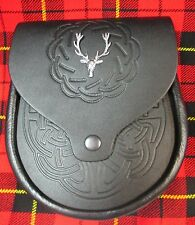 Black Embossed Leather with Stag Head Badge Sporran for Kilts w/ Chain Belt