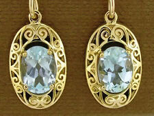 E093- 9ct Solid Gold Natural Topaz Drop Earrings Ornate Victorian Scroll Design