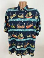 Vintage Boat Print Hawaiian Shirt Mens Large Navy Short Sleeve Button Down Rayon