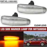 Front Amber LED Side Marker Light Indicators For Mistubishi Lancer Evo X 08-17