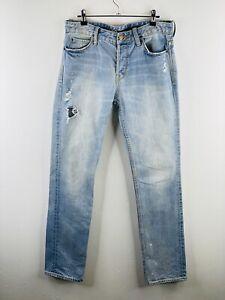 Lee Men's Lo Slim L2 Distressed Denim Button Close Jeans Pockets Size 30 Blue