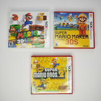 3 Nintendo 3DS Game Lot Super Mario Maker Mario 3D Land New Super Mario Bros 2