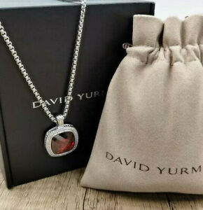 David Yurman Square Chain Red Garnet & Diamond Pendant Necklace 20mm