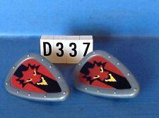 (D337) playmobil 2 boucliers gris et tête dragon chevalier soldat ref 3666 3268