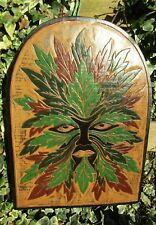 Fair Trade Hand Carved Made Wooden Wood Green Man Leaf Wall Art Hanging Plaque