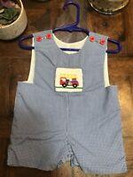 Remember Nguyen Smocked Firetruck Boys 3M shortall blue white check