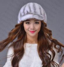 Winter Women Real New Mink Fur Hat Cap Headgear Beanie Beret QS 00030.3 2##