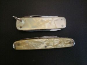 2 Vintage Small Pearl Handle Knives, One Is A Multi Tool Type