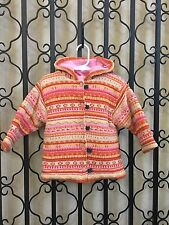 Boutique French Clayeux Pink Stripe Chenile Cardigan Sweater with Hoodie - 2 2a