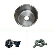 """15"""" Stainless Steel Single Round Kitchen Bowl Bar Sink With Strainer Water Tube"""