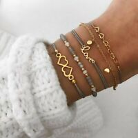 Women Multilayer Rope Natural Stone Bead Bracelet Heart Love Gold Charm Bangle