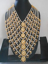 White Pearl Gold Tone Indian Long Rani Haar Necklace 7 Lines Wedding Jewelry