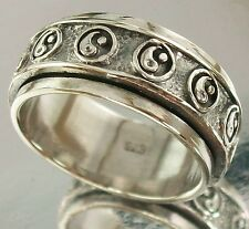 925 Sterling Silver Spin Ring Yin Yang Design oxidised US 10 AU T 1/2, 10mm wide