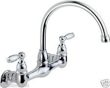 Two Handle Wall Mounted Kitchen Faucet Chrome Utility Home Bath Fixtures Sink