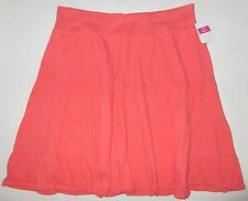 FRESH PRODUCE Large Red Coral Orange Tiered Jersey Cotton Skirt NWT New L