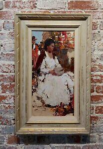 Burt Procter - Native American Pottery Maker Woman -Oil painting