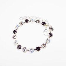 Damen Armband  Swarovski Kristalle Tennis 925 Versilbert Schwarz Weiß Silber