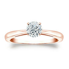 Certified 14k Rose Gold 4-Prong Round Diamond Solitaire Ring 0.50 ct G-H, I2-I3