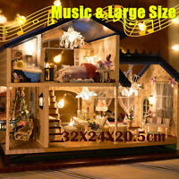 Music LED Dollhouse DIY Cottage Miniature Wooden House Lavender Home Furniture