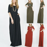 Fit Fashion Women Solid O-Neck Half Sleeve Draped Empire Waist Tunic Maxi Dress