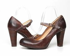 Frye Smoke Leather Miranda Mary Jane Womens Pumps Brown size 7.5 1012