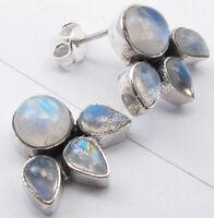 "Round & Drop Shape RAINBOW MOONSTONE 2 STONE 925 Solid Silver Stud Earrings 0.6"""