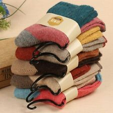 5 Pairs Women Wool Cashmere Thick Warm Casual Sports Socks Winter New Novelty DU