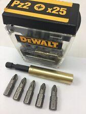 5 X PZ2 DEWALT 25mm BITS   1 X 75mm BRASS  MAGNETIC BIT HOLDER PROFFESIONAL