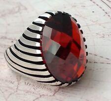 Turkish Ottoman Faceted Red Garnet Gemstone 925 Sterling Silver Men Ring