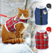 Warm Fleece Padded Cat Harness & Leash Set Cat Winter Clothes Jacket Coat Vest
