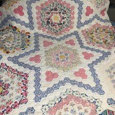 Vintage King Size Grandmother's Flower Garden Variation Hand Made Quilt