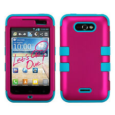 LG Motion 4G / Optimus Regard IMPACT TUFF HYBRID Case Phone Cover Rose Pink Teal