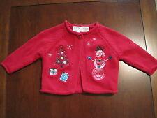 Miniwear Girl Red Snowman Christmas Cotton Cardigan Sweater 3-6 month EUC