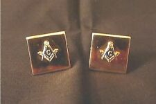 """MASONIC MEN'S CUFF LINKS. GOLD COLOR. 30+ YEARS. 5/8"""" X 5/8"""". 6.6 GR. TOTAL WGT."""
