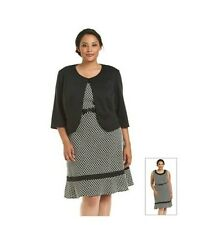 NEW R & M Richards BLACK/white/ Plus Size 18W/ Ponte Jacket and Belted Dress