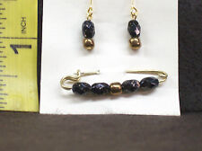 VINTAGE STYLE DOLL JEWLERY EARRINGS & PIN BLACK AND GOLD COLOR CRYSTALS