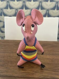 """1957 Babies First Steps plush 8"""" Crying Mouse vintage tag attached"""