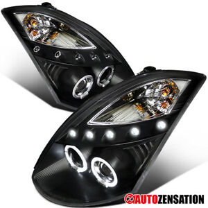 For 03-07 Infiniti G35 Coupe Black LED Halo Projector Headlights Lamps 04 05 06
