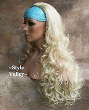 Light Blonde 3/4 Fall Hair Piece Bleach Long Curly Layers Half Wig Hairpiece