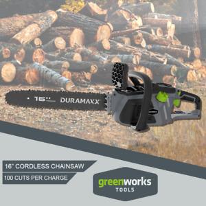 "Cordless Chainsaw 40CM Greenworks Duramaxx Brushless 16"" 40V Battery & Charger"