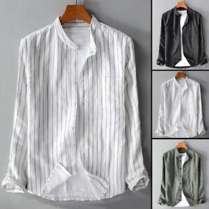 Mens Long Sleeve Retro Striped Shirt Collarless Grandad Casual Dress Shirts Tops