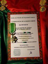 """Légion Étrangère (Fr)-DIPLÔME DE CHEVALIER ORDRE """"L'ETOILE DE COMORE""""-REPRO"""