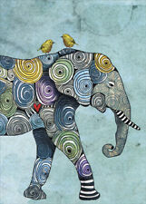 Elephant and Yellowbirds Tree-Free Greetings Blank Note Card