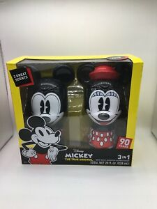 Disney 90th Anniversary Mickey & Minnie Mouse 3 In One Wash Set Figural Bottles
