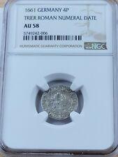 NGC AU58 German 4 pfennig. 1661 AD. Trier Roman Numeral Date