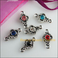 12Pcs Tibetan Silver Tone Mixed Crystal Flower Charms Connectors 8x15mm