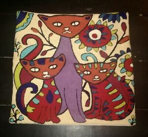 HANDMADE Chain-stitched CAT ARTWORK PILLOW/CUSHION COVER from KASHAMIR